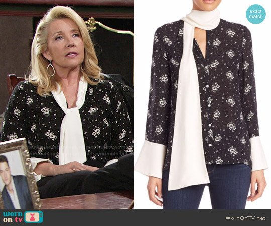 Cinq a Sept Stardust Rowan Silk Floral Top worn by Nikki Reed Newman (Melody Thomas-Scott) on The Young & the Restless