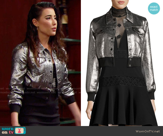 Cinq a Sept Kane Metallic Jacket worn by Jacqueline MacInnes Wood on The Bold & the Beautiful