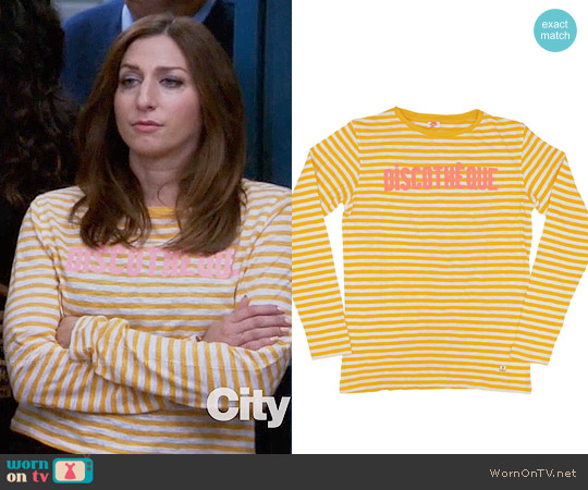 Clare V Longsleeve Top in Yellow Stripes with Coral Discotheque worn by Chelsea Peretti on Brooklyn Nine-Nine
