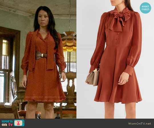 Co Pussy-bow Crepe de Chine Dress worn by Lucy Liu on Elementary