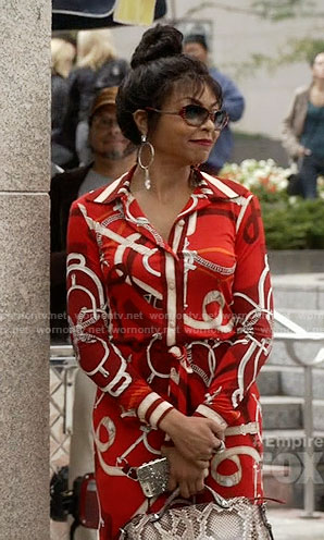 Cookie's red belt print shirtdress and studded sunglasses on Empire