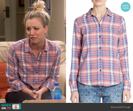 Current/Elliott Plaid Button Down Shirt worn by Kaley Cuoco on The Big Bang Theory