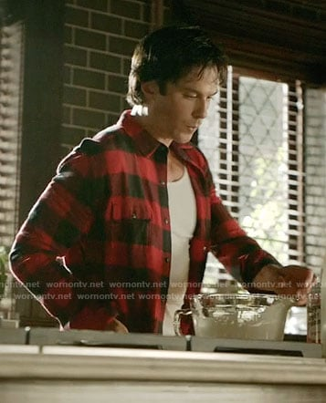 Damon's red buffalo check shirt on The Vampire Diaries