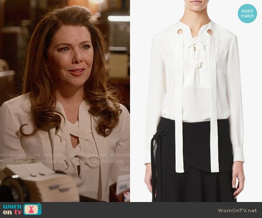 Derek Lam Lace-Up Blouse worn by Lauren Graham on Gilmore Girls