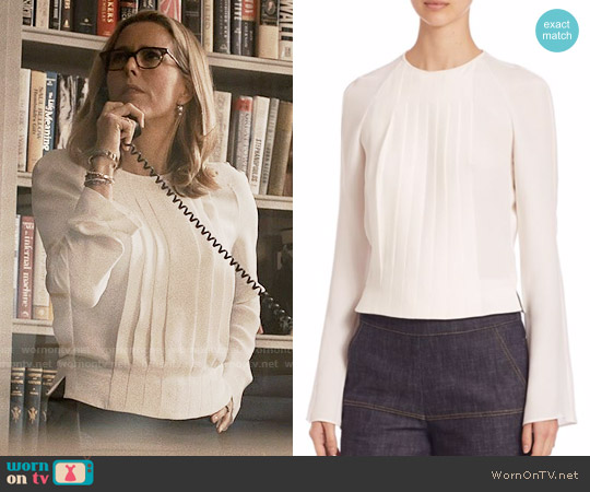 Derek Lam Pleated Silk Blouse worn by Elizabeth McCord (Téa Leoni) on Madam Secretary