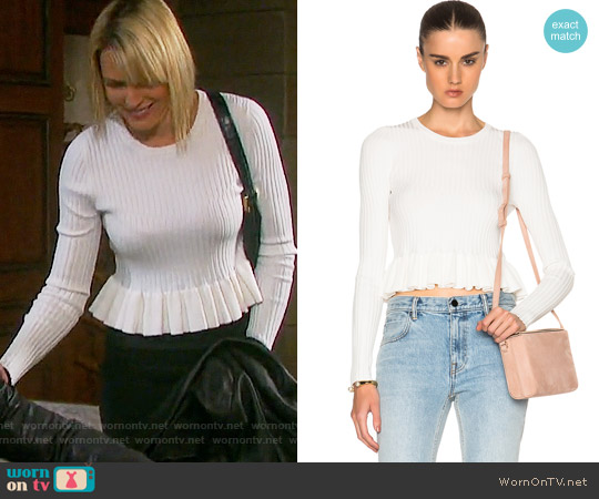 10 Crosby by Derek Lam Ruffle Hem Sweater worn by Nicole Walker (Arianne Zucker) on Days of our Lives
