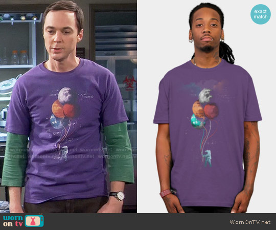 Design by Humans The Spaceman's Trip Tee in Purple worn by Jim Parsons on The Big Bang Theory