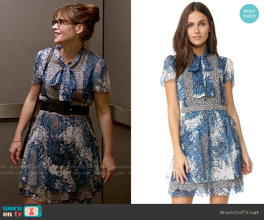 Diane von Furstenberg 'Marisa' Dress in Bead Comp Peacock/Beads Black worn by Zooey Deschanel on New Girl