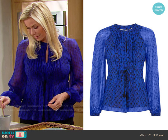 Diane von Furstenberg Mollie Blouse worn by Katherine Kelly Lang on The Bold & the Beautiful