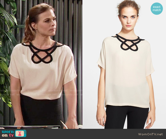 Diane von Furstenberg Short Sleeve Cutout Top worn by Gina Tognoni on The Young & the Restless