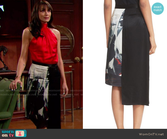 DKNY Asymmetrical Print Pencil Skirt worn by Rena Sofer on The Bold & the Beautiful
