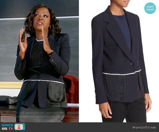 DKNY Colorblock Mixed Media One-Button Jacket worn by Annalise Keating on HTGAWM