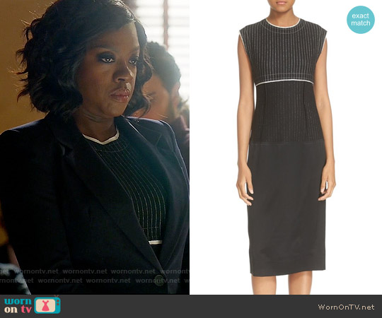 DKNY Pinstripe Mixed Media Sheath Dress worn by Viola Davis on HTGAWM