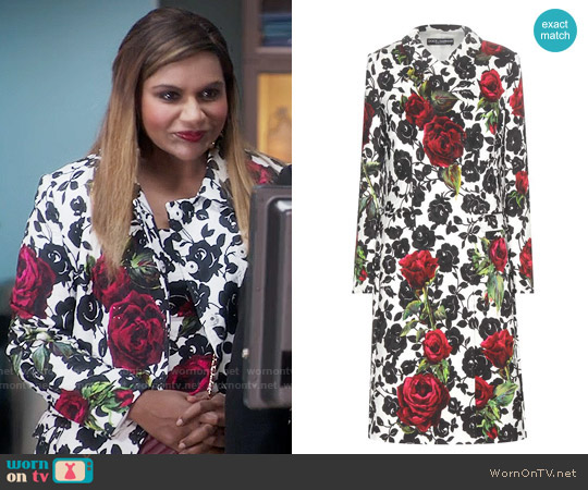 Dolce & Gabbana Rose Print Brocade Coat worn by Mindy Lahiri on The Mindy Project