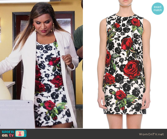 Dolce & Gabbana Rose-Print Narrow Shift Dress worn by Mindy Kaling on The Mindy Project