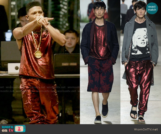 Dries van Noten SS 2016 Sequin Top and Pants worn by Hakeem Lyon (Bryshere Y. Gray) on Empire