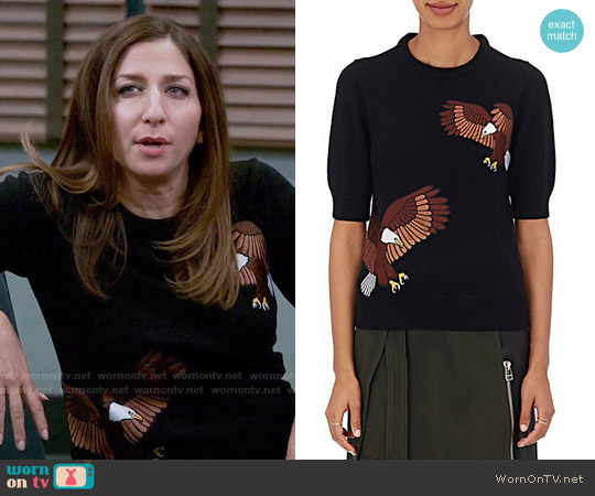 Each x Other  Eagle Appliqued Wool Sweater worn by Chelsea Peretti on Brooklyn Nine-Nine