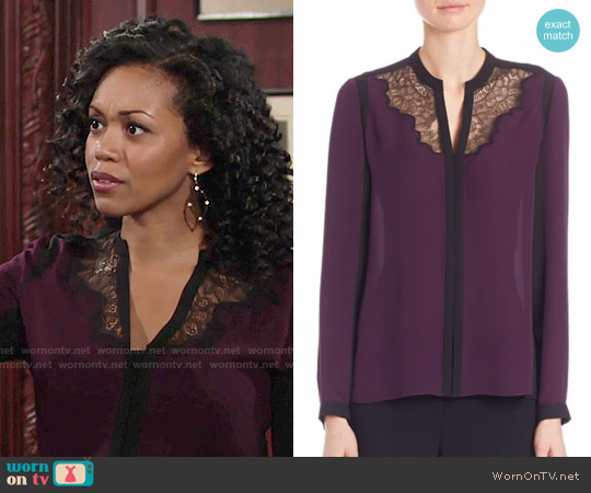 Elie Tahari Denise Colorblock Silk Blouse worn by Mishael Morgan on The Young & the Restless
