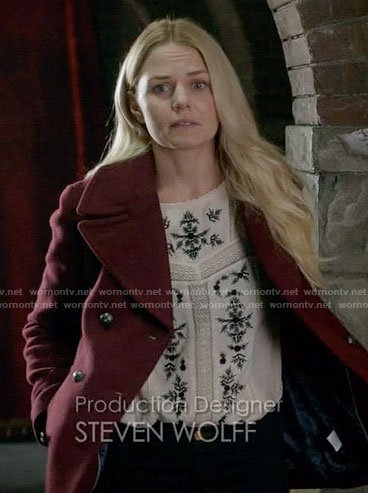 Emma's off-white embroidered top on Once Upon a Time