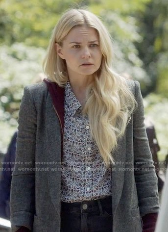 Emma's small floral print shirt and grey coat on Once Upon a Time