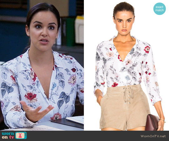 Equipment Adalyn Floral Silk Blouse worn by Amy Santiago (Melissa Fumero) on Brooklyn Nine-Nine