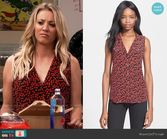Equipment 'Adalyn' Heart Print Sleeveless Silk Top worn by Kaley Cuoco on The Big Bang Theory