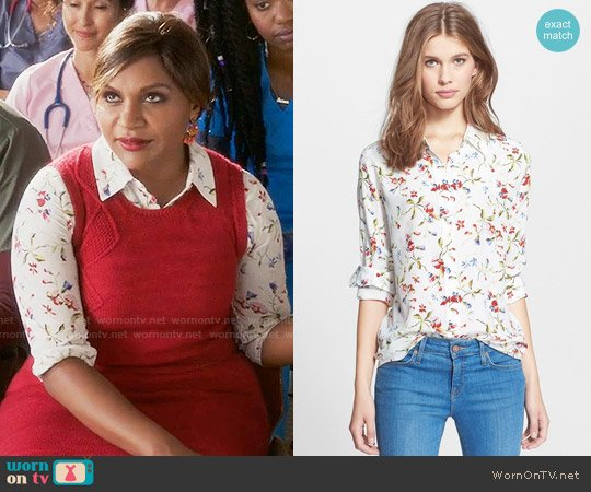 WornOnTV: Mindy's White Floral Shirt And Red Knitted Vest