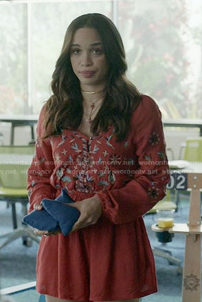 Erica's red embroidered romper on Last Man on Earth