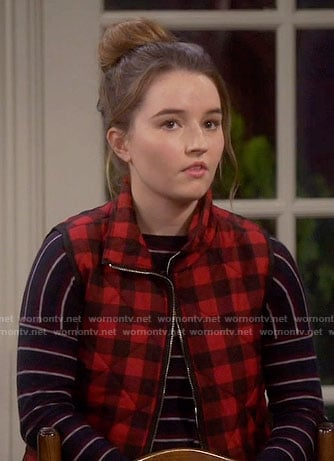 Eve's striped sweater and red checked vest on Last Man Standing