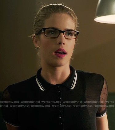 Felicity's black polo top with sheer sleeves on Arrow