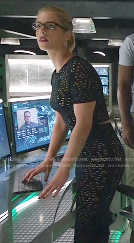 Felicity's black eyelet crop top and skirt on Arrow