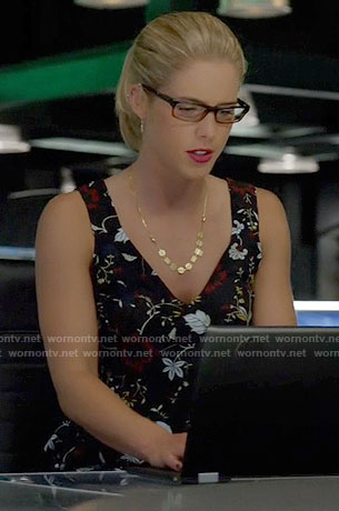 Felicity's black floral v-neck top on Arrow