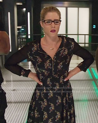 Felicity's black printed zip front dress on Arrow