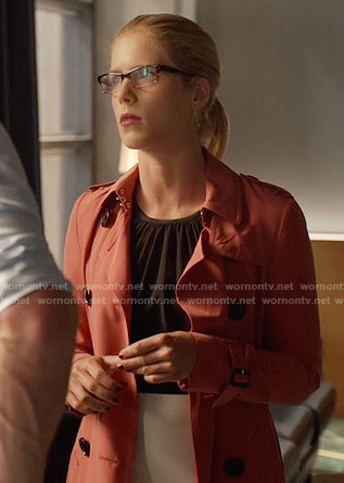 Felicity's coral trench coat on Arrow