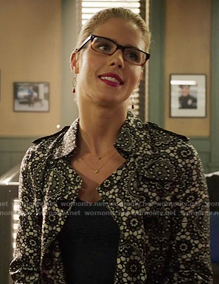 Felicity's lace trench coat on Arrow