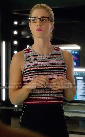 Felicity's pink striped top on Arrow