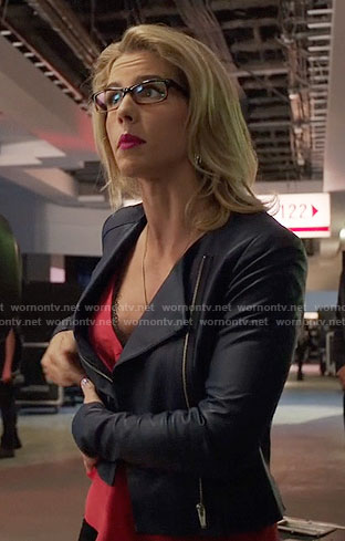 Felicity's red lace trim top and leather jacket on Arrow