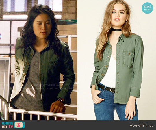 Forever 21 Snap-Button Cotton Jacket worn by Jadyn Wong on Scorpion