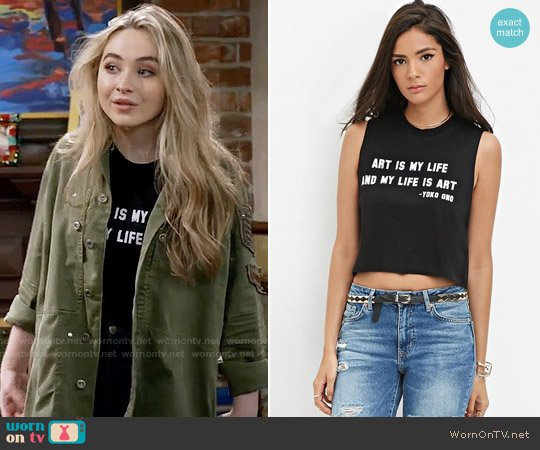 Forever 21 Yoko Ono Crop Top worn by Maya Hart (Sabrina Carpenter) on Girl Meets World