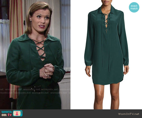 Frame Lace-Up Silk Shirtdress worn by Melissa Claire Egan on The Young & the Restless