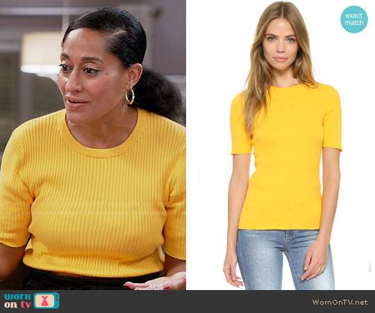 Frame Le Crew Ribbed Cotton Sweater worn by Rainbow Johnson (Tracee Ellis Ross) on Blackish