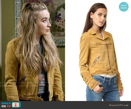 Free People Shrunken Jean Jacket in Honey worn by Sabrina Carpenter on Girl Meets World