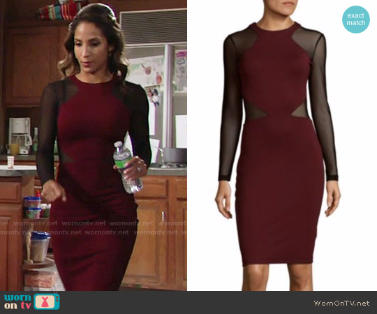 French Connection Viven Dress in Blackberry worn by Christel Khalil on The Young & the Restless