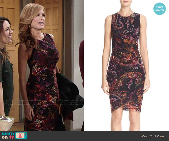 Fuzzi Paisley Print Tulle Sheath Dress worn by Tracey Bregman on The Young & the Restless