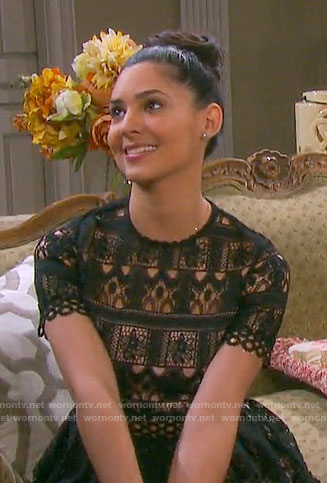Gabi's black lace short sleeved dress on Days of our Lives