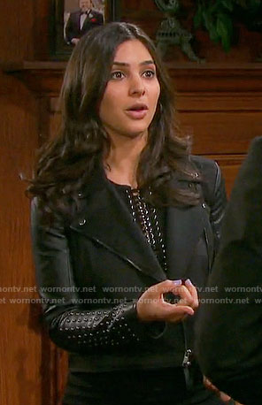 Gabi's moto jacket with studded sleeves on Days of our Lives