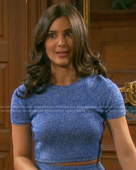 Gabi's blue crop top and skirt on Days of our Lives
