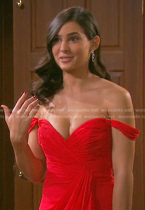 Gabi's red off-shoulder gown on Days of our Lives