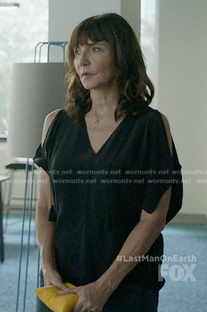 Gail's black cold shoulder top on Last Man on Earth