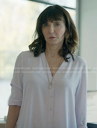 Gail's white v-neck button front blouse on Last Man on Earth